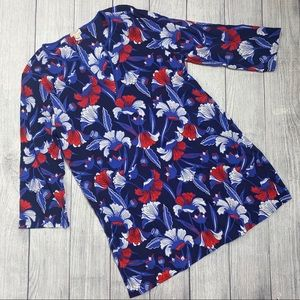 J.Crew tissue tunic cover up floral red white blue